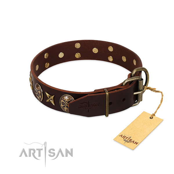Durable decorations on genuine leather dog collar for your four-legged friend