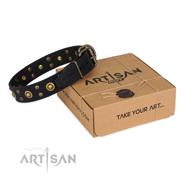 Rust-proof hardware on genuine leather collar for your lovely four-legged friend