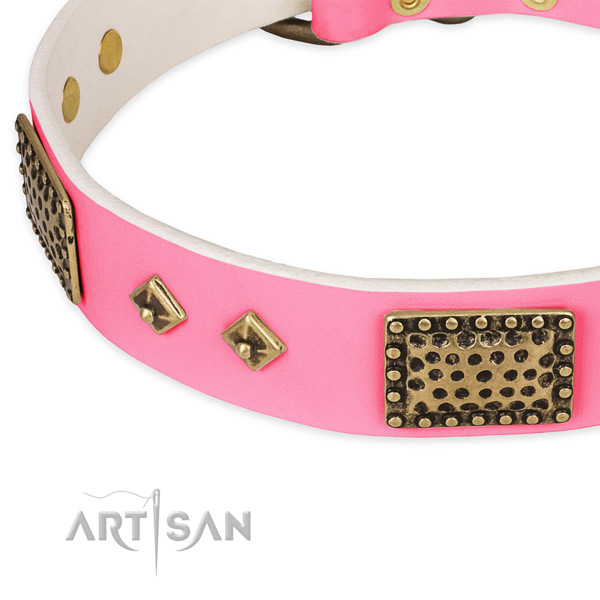 Natural genuine leather dog collar with decorations for comfortable wearing