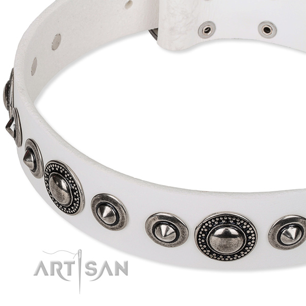 Handy use adorned dog collar of top quality full grain natural leather