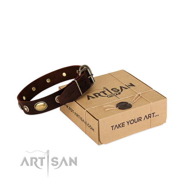 Corrosion proof fittings on full grain natural leather dog collar for your canine