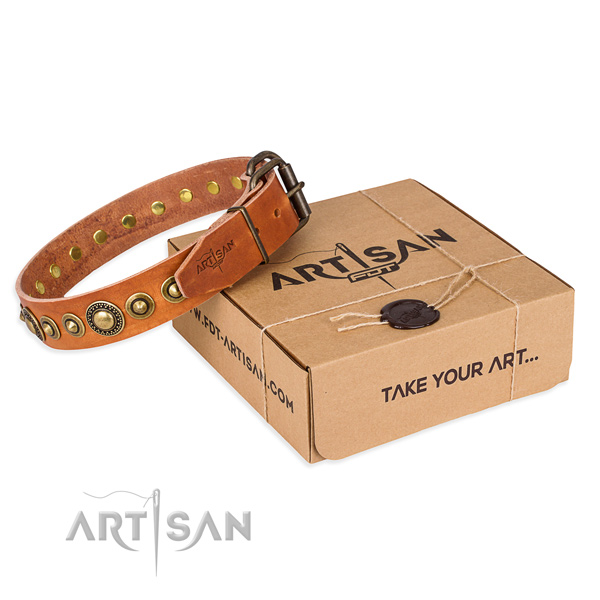 Durable full grain natural leather dog collar handmade for comfy wearing