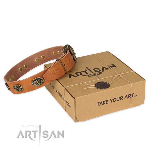 Strong hardware on genuine leather collar for your stylish canine