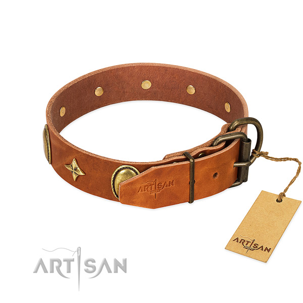 Best quality full grain natural leather dog collar with amazing studs