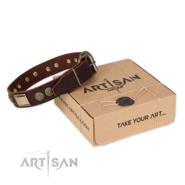 Rust resistant buckle on full grain genuine leather dog collar for comfortable wearing