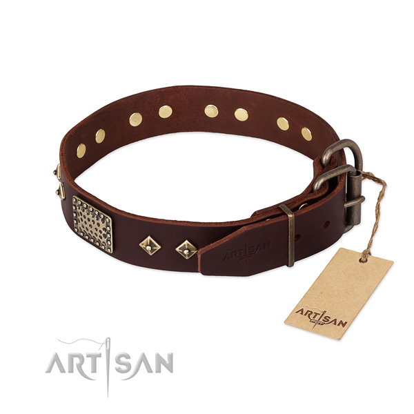 Genuine leather dog collar with durable buckle and decorations