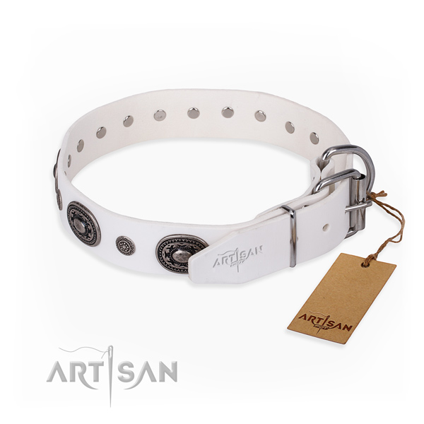 Top notch full grain natural leather dog collar made for walking