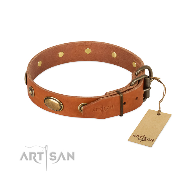 Durable hardware on natural leather dog collar for your doggie