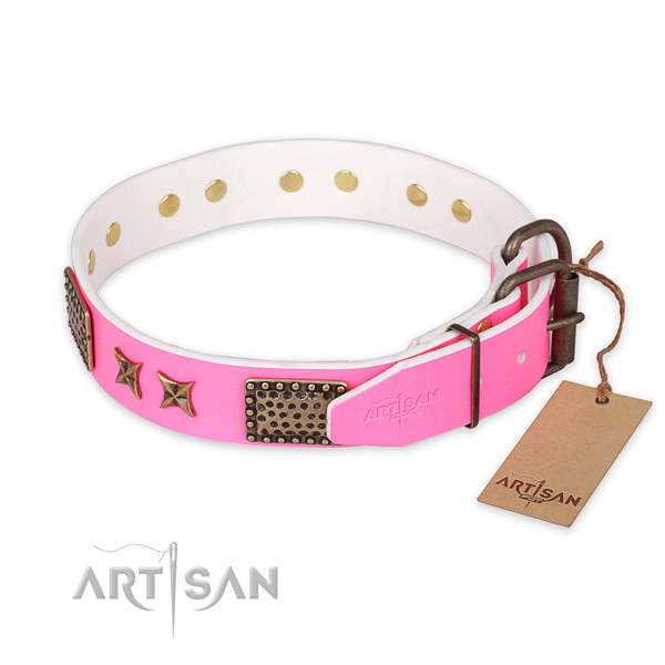 Rust-proof hardware on leather collar for your lovely four-legged friend