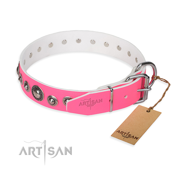 Full grain genuine leather dog collar made of quality material with durable studs