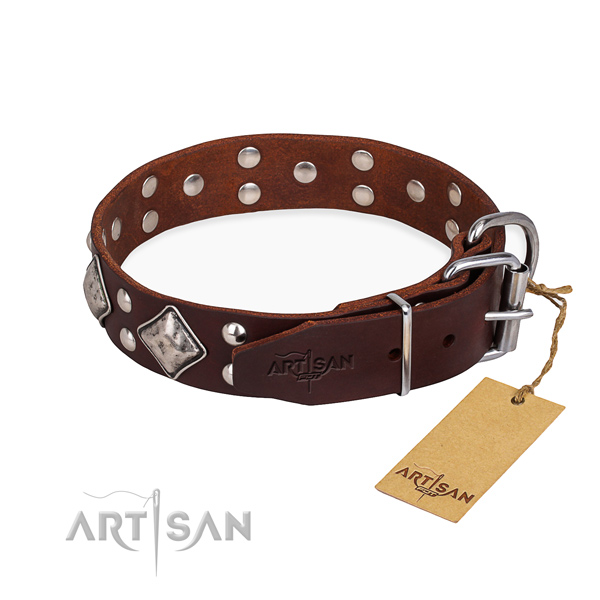 Full grain genuine leather dog collar with significant rust-proof studs