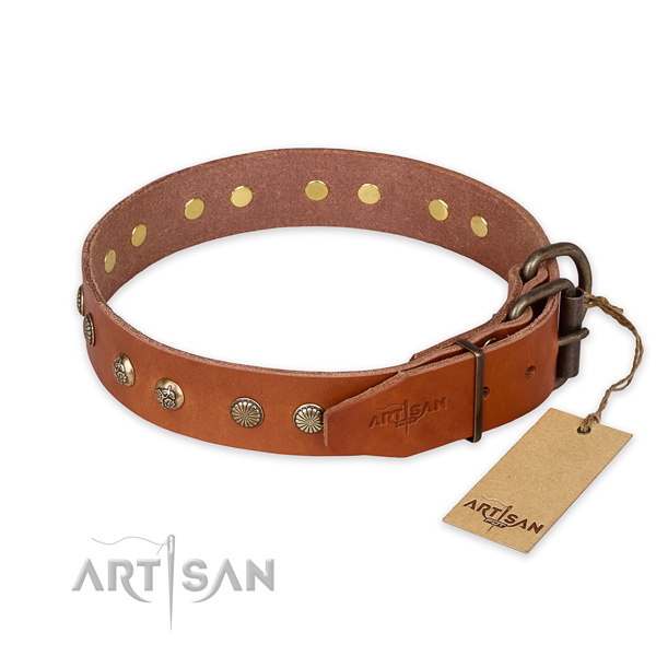 Rust resistant hardware on genuine leather collar for your stylish doggie