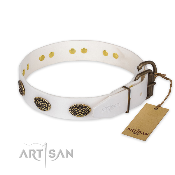 Corrosion proof D-ring on genuine leather collar for walking your dog