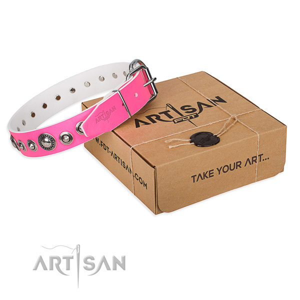 Natural genuine leather dog collar made of gentle to touch material with durable fittings