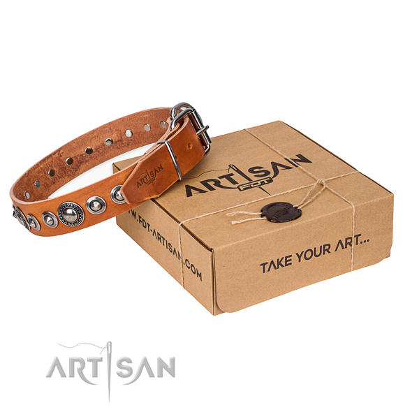 Natural genuine leather dog collar made of soft material with strong fittings