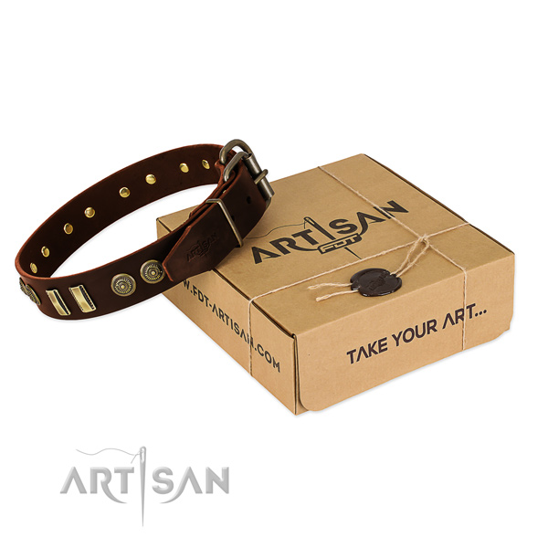 Strong studs on genuine leather dog collar for your four-legged friend