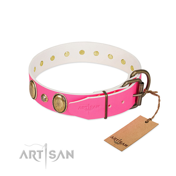 Everyday walking flexible full grain natural leather dog collar