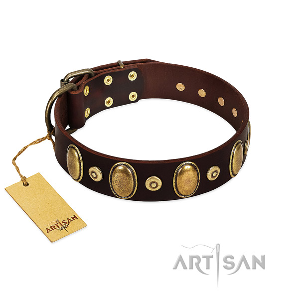 Everyday use dog collar of full grain genuine leather