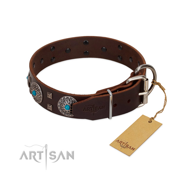 Top notch genuine leather dog collar with embellishments for everyday use