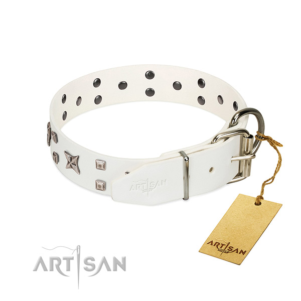 Soft full grain genuine leather dog collar with fashionable decorations