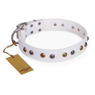 """Snowflake"" FDT Artisan White Leather dog Collar with Decorations"