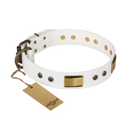 """Precious Necklace"" FDT Artisan White Leather dog Collar with Old Bronze Look Plates and Studs"