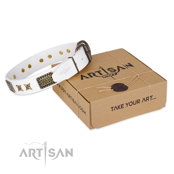 Rust-proof hardware on full grain genuine leather collar for your impressive canine