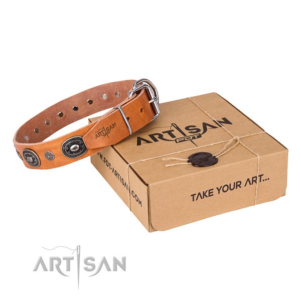 Top rate natural genuine leather dog collar created for everyday walking