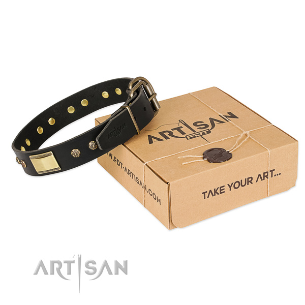 Trendy full grain genuine leather collar for your stylish doggie