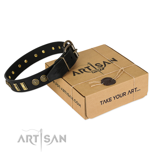 Corrosion proof buckle on full grain leather dog collar for your four-legged friend