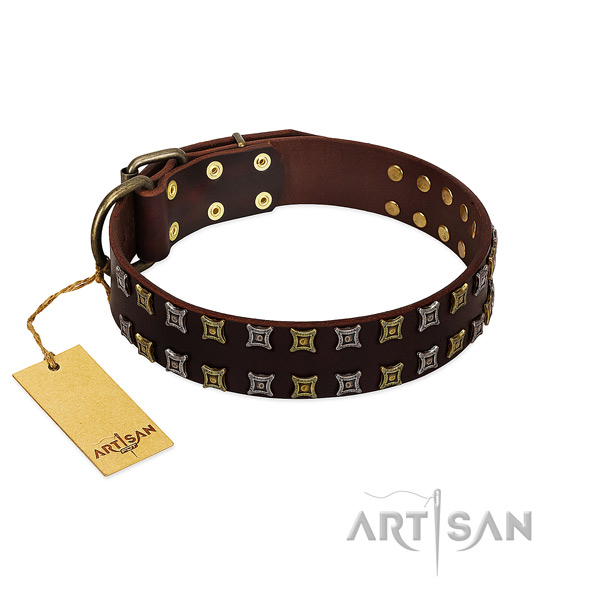 Reliable natural leather dog collar with decorations for your pet