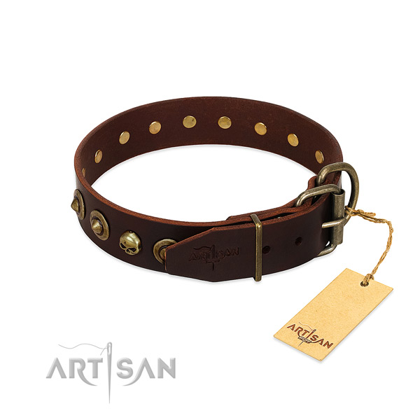 Genuine leather collar with trendy decorations for your doggie
