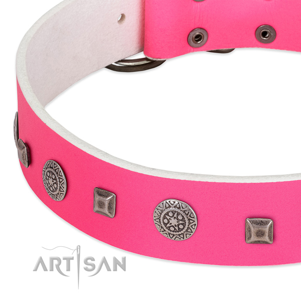 Top notch full grain genuine leather collar with decorations for your dog
