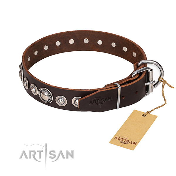 Full grain leather dog collar made of quality material with corrosion resistant hardware