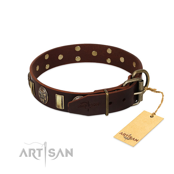Natural genuine leather dog collar with strong D-ring and decorations