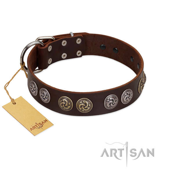 Durable fittings on top quality full grain leather dog collar