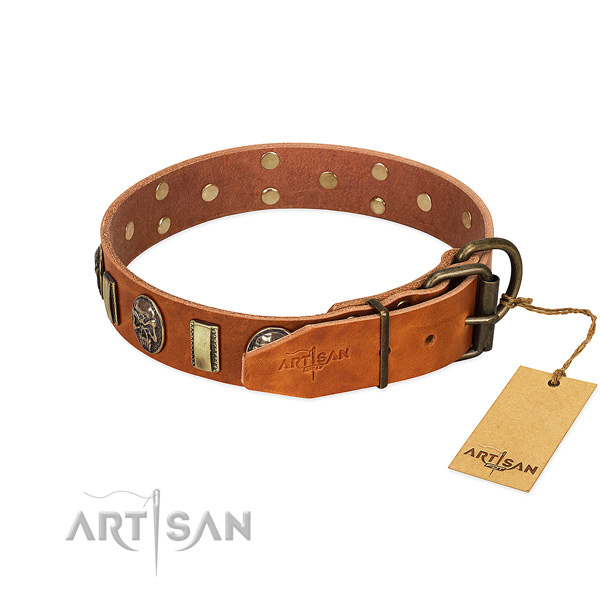 Genuine leather dog collar with corrosion proof buckle and decorations