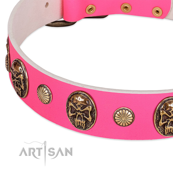 Strong decorations on full grain genuine leather dog collar for your dog