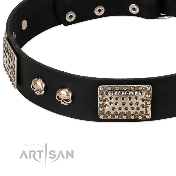 Durable embellishments on natural genuine leather dog collar for your canine