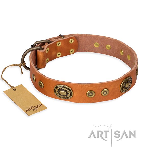 Leather dog collar made of soft material with corrosion proof traditional buckle