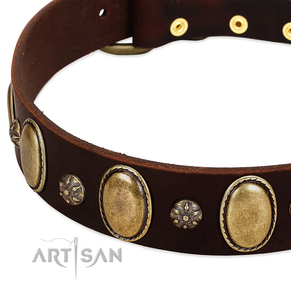 Comfortable wearing soft to touch leather dog collar