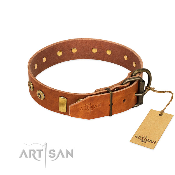Amazing studded full grain natural leather dog collar of soft to touch material