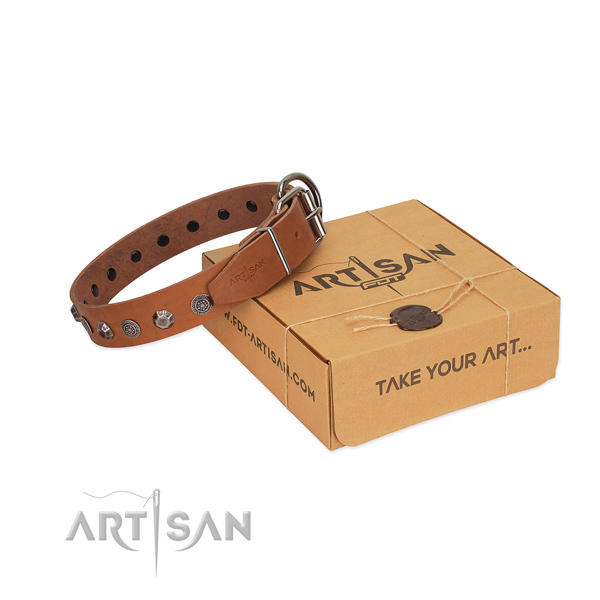 Full grain leather dog collar of soft to touch material with incredible decorations