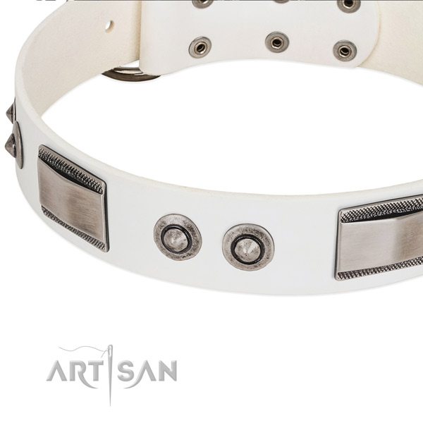 Stylish dog collar of full grain natural leather with studs