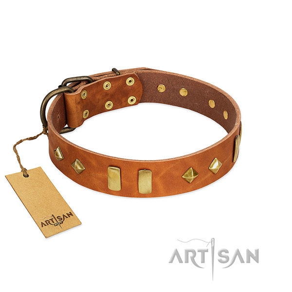 Handy use top rate natural leather dog collar with adornments