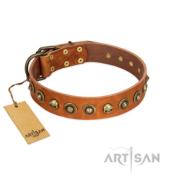 Full grain natural leather collar with extraordinary decorations for your dog