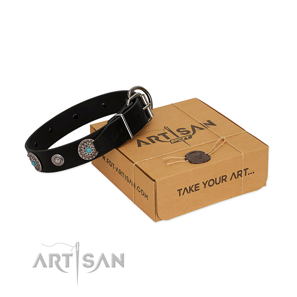Comfortable wearing top notch genuine leather dog collar with adornments