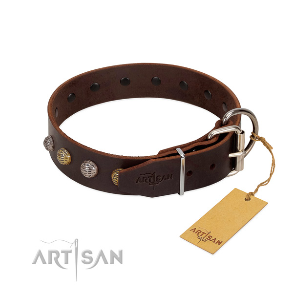 Awesome full grain natural leather dog collar with strong traditional buckle