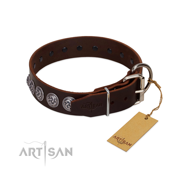 Durable hardware on handmade full grain natural leather dog collar