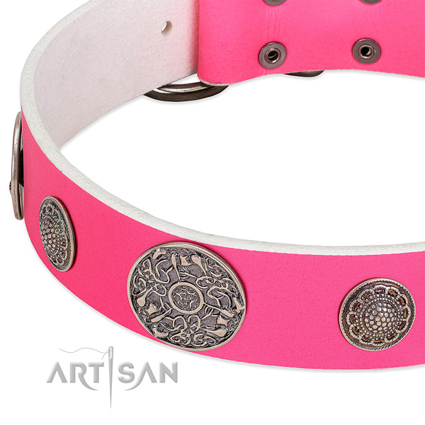 Strong buckle on genuine leather dog collar